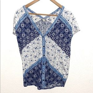 Lucky Brand Floral Pattern Blouse Blue & White